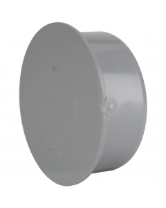 Polypipe 82mm Push Fit Soil and Vent Socket Plug - Grey