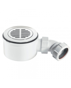 """McAlpine 50mm Water Seal 90mm Shower Trap - 1½"""" (CP Brass Slotted Flange)"""