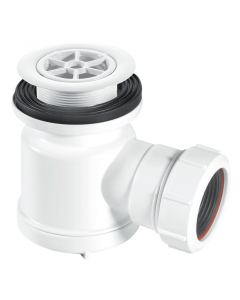 "McAlpine 19mm Water Seal Shower Trap - 1½"" (85mm White Plastic Flange)"