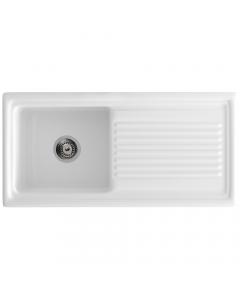 Tuscan Cortana Ceramic Inset Sink - 1 Bowl - Polar White