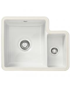 Tuscan Poppi Ceramic Undermount Sink - 1.5 Bowl - Right Hand Small Bowl - Polar White