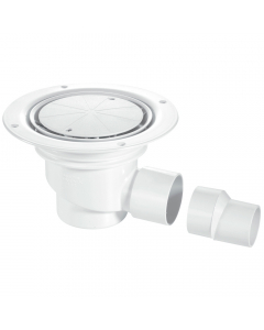 McAlpine 75mm Water Seal Shower Trapped Floor Gully with Horizontal Outlet - White Plastic Cover Plate (Sheet Floors)