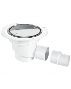 McAlpine 75mm Water Seal Shower Trapped Floor Gully with Horizontal Outlet - Stainless Steel Cover Plate (Sheet Floors)