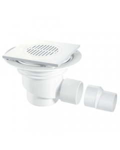 McAlpine 75mm Water Seal Shower Trapped Floor Gully with Horizontal Outlet - White Plastic Tile (Tiled Floors)