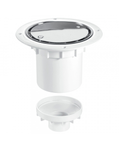 McAlpine 75mm Water Seal Shower Trapped Floor Gully with Vertical Outlet - Stainless Steel Cover Plate (Sheet Floors)