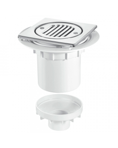 McAlpine 75mm Water Seal Shower Trapped Floor Gully with Vertical Outlet - Stainless Steel Tile (Tiled Floors)