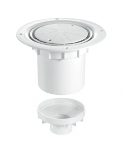McAlpine 75mm Water Seal Shower Trapped Floor Gully with Vertical Outlet - White Plastic Cover Plate (Sheet Floors)