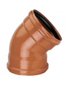 Polypipe 110mm Underground Drainage Double Socket 45 Degree Short Radius Bend