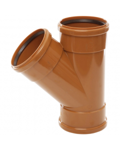Polypipe 110mm Underground Drainage Triple Socket 45 Degree Equal Junction