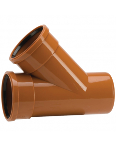 Polypipe 110mm Underground Drainage Double Socket 45 Degree Equal Junction