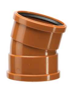 Polypipe 110mm Underground Drainage Double Socket 15 Degree Short Radius Bend