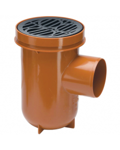 Polypipe 110mm Underground Drainage Bottle Gully and Round Grid