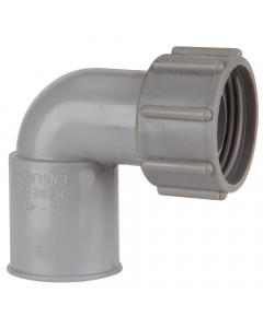Polypipe 21.5mm Push Fit Overflow Bent Adaptor - Grey