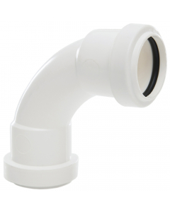 Polypipe 32mm Push Fit Waste 91.25 Degree Swept Bend - White