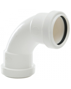 Polypipe 40mm Push Fit Waste 91.25 Degree Swept Bend - White