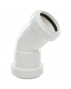 Polypipe 32mm Push Fit Waste 45 Degree Obtuse Bend - White