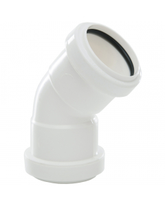 Polypipe 40mm Push Fit Waste 45 Degree Obtuse Bend - White