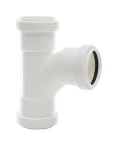 Polypipe 40mm Push Fit Waste 91.25 Degree Swept Tee - White