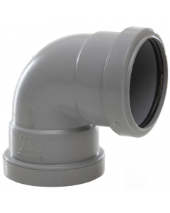 Polypipe 50mm Push Fit Waste 90 Degree Knuckle Bend - Grey