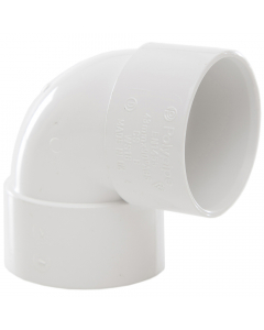 Polypipe 40mm Solvent Weld Waste 90 Degree Knuckle Bend - White