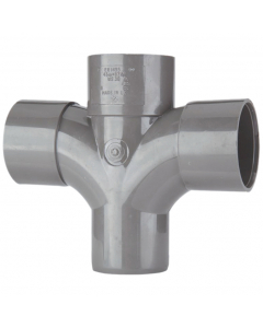 Polypipe 50mm Solvent Weld Waste 92.5 Degree Cross Tee - Grey
