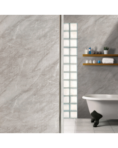 SplashPanel PVC Light Grey Marble Gloss Wall Panel - 1200mm