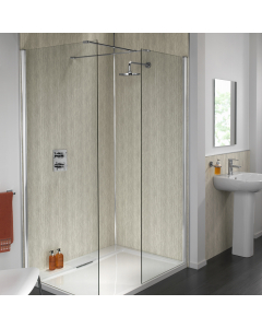 SplashPanel PVC Silver Travertine Gloss Wall Panel - 1200mm