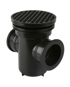 Brett Martin 110mm Underground Back Inlet Roddable Gully with 90 Degree Outlet - Round Grid