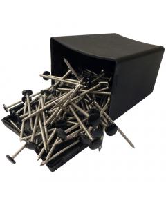 Plastops Plastic Headed Nails - 50mm - Black (100 Pack)