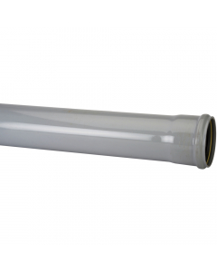 Polypipe 160mm Push Fit Soil and Vent Single Socket Pipe - 3 Metre - Grey